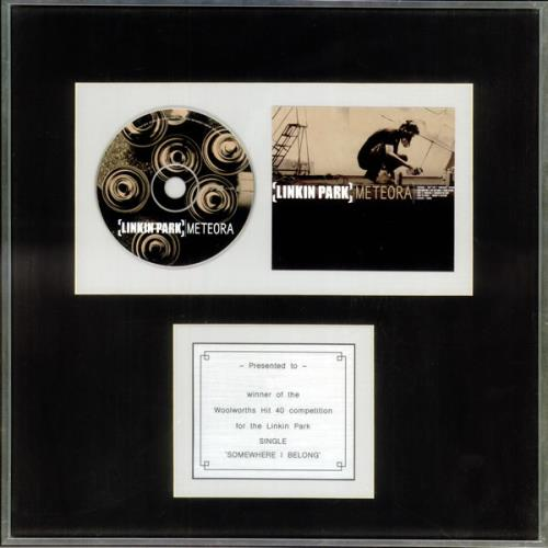 Linkin Park Somewhere I Belong award disc UK LKPAWSO521377