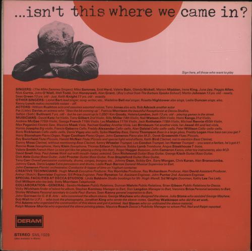 Lionel Bart Isn't This Where We Came In? vinyl LP album (LP record) UK L/BLPIS689788