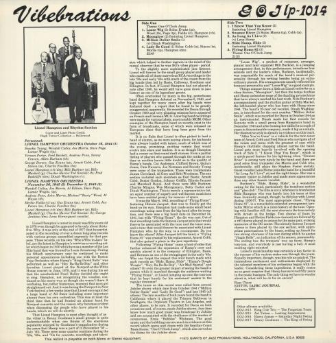 Lionel Hampton Vibebrations vinyl LP album (LP record) US LI0LPVI552446