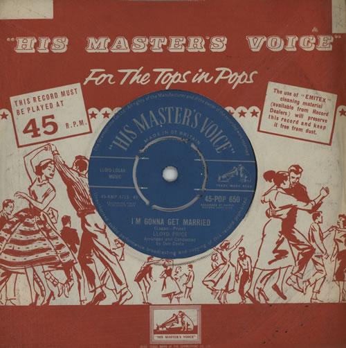 "Lloyd Price I'm Gonna Get Married 7"" vinyl single (7 inch record) UK LPC07IM564648"
