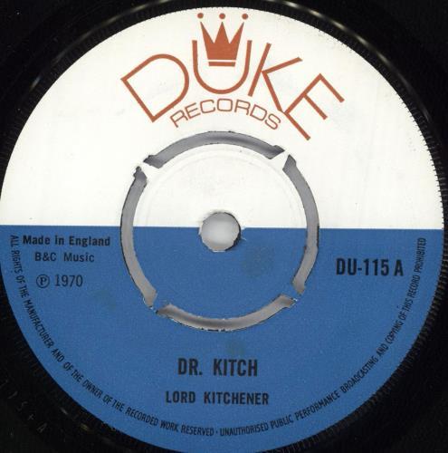 "Lord Kitchener Dr. Kitch 7"" vinyl single (7 inch record) UK LR607DR725460"