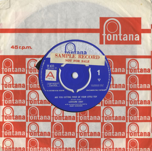 """Lorraine Gray Are You Getting Tired Of Your Little Toy 7"""" vinyl single (7 inch record) UK LZ407AR520914"""