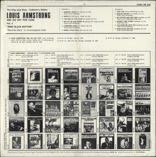 Louis Armstrong Irish Black Bottom 1926: Vol. 2 vinyl LP album (LP record) Italian LOALPIR723458