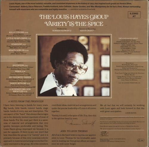Louis Hayes Variety Is The Spice vinyl LP album (LP record) German Q60LPVA708699