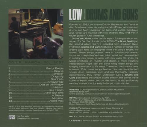 Low Drums And Guns CD album (CDLP) US LAJCDDR398223