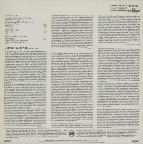 Ludwig Van Beethoven Beethoven / Liszt: Symphonie Nr.7 - Schumann: Exercices vinyl LP album (LP record) German LVBLPBE753044