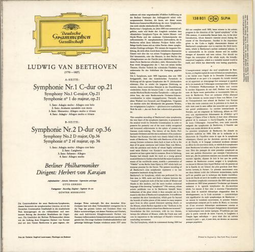 Ludwig Van Beethoven Beethoven: Symphonies 1 & 2 UK vinyl LP album (LP  record)