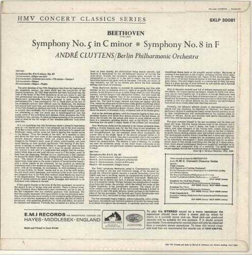 Ludwig Van Beethoven Beethoven: Symphony No. 5 In C Minor, Symphony No. 8 In F vinyl LP album (LP record) UK LVBLPBE699526