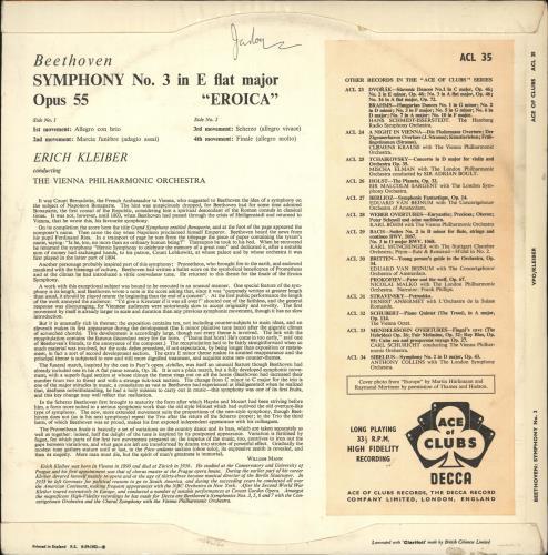 Ludwig Van Beethoven Eroica Symphony vinyl LP album (LP record) UK LVBLPER723384