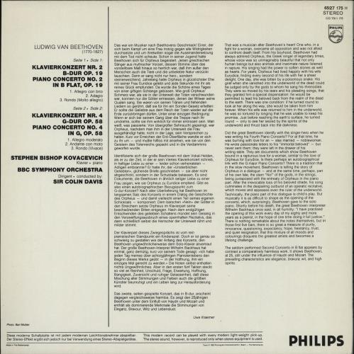 Ludwig Van Beethoven Piano Concertos No. 2 & 4 vinyl LP album (LP record) Dutch LVBLPPI765702