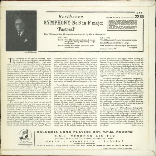 Ludwig Van Beethoven Symphony No. 6 in F major 'Pastoral' vinyl LP album (LP record) UK LVBLPSY535002