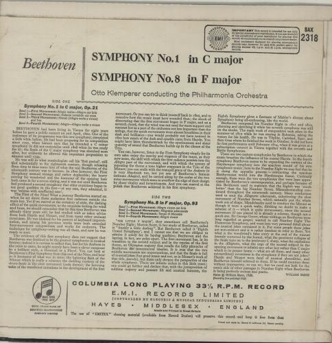 Ludwig Van Beethoven The Beethoven Symphonies Numbers 1 & 8 vinyl LP album (LP record) UK LVBLPTH685944