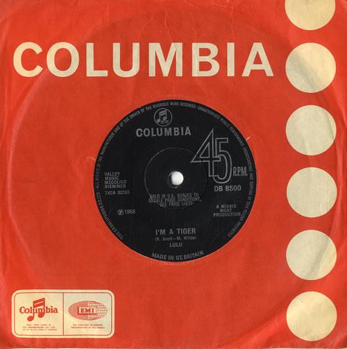 "Lulu I'm A Tiger 7"" vinyl single (7 inch record) UK LUL07IM391825"