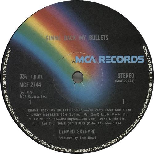 Lynyrd Skynyrd Gimme Back My Bullets vinyl LP album (LP record) UK LRDLPGI171361