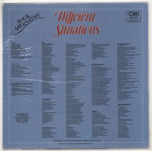 Mack Abernathy Different Situations vinyl LP album (LP record) US ZXDLPDI721460