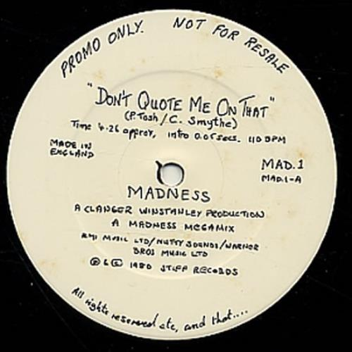 """Madness Don't Quote Me On That 12"""" vinyl single (12 inch record / Maxi-single) UK MDN12DO23682"""