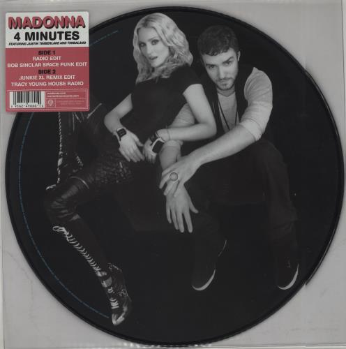 "Madonna 4 Minutes 12"" vinyl picture disc 12inch picture disc record UK MAD2PMI430437"