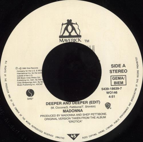 "Madonna Deeper And Deeper - Jukebox pressing 7"" vinyl single (7 inch record) UK MAD07DE565639"