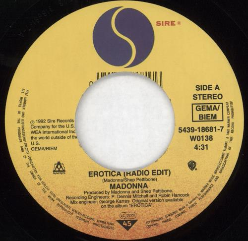 "Madonna Erotica - Wide 7"" vinyl single (7 inch record) German MAD07ER721352"