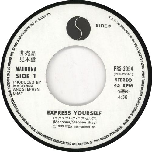 """Madonna Express Yourself 7"""" vinyl single (7 inch record) Japanese MAD07EX472348"""
