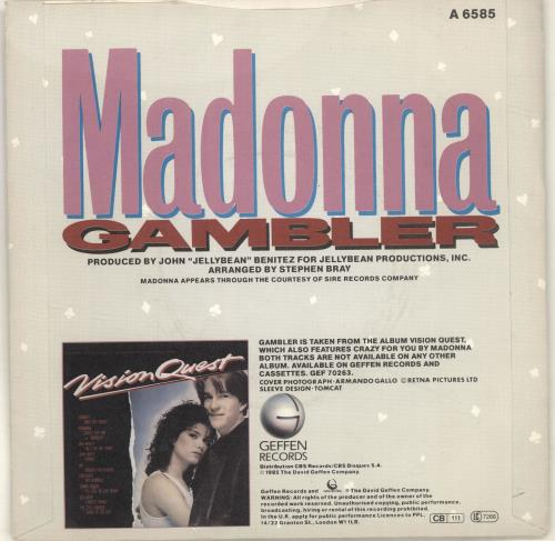 "Madonna Gambler + Sleeve 7"" vinyl single (7 inch record) UK MAD07GA02530"