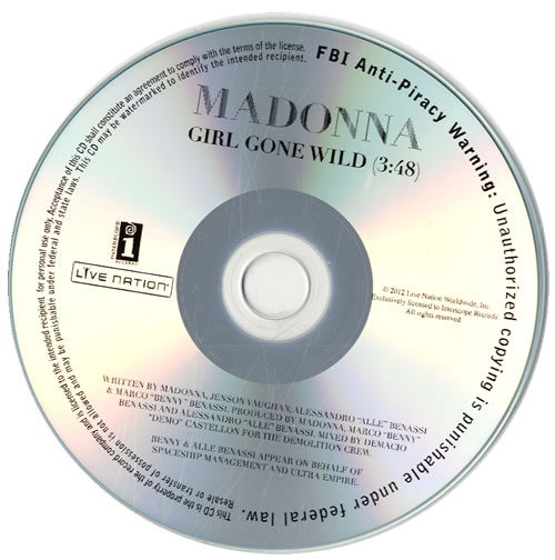 Madonna Girl Gone Wild CD-R acetate US MADCRGI562031