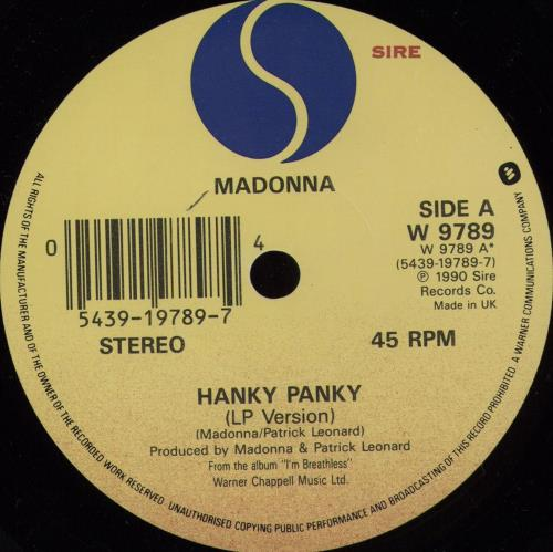 "Madonna Hanky Panky - paper sleeve 7"" vinyl single (7 inch record) UK MAD07HA730695"