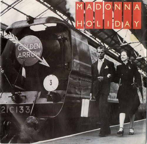 "Madonna Holiday - Injection + Train Sleeve 7"" vinyl single (7 inch record) UK MAD07HO559580"