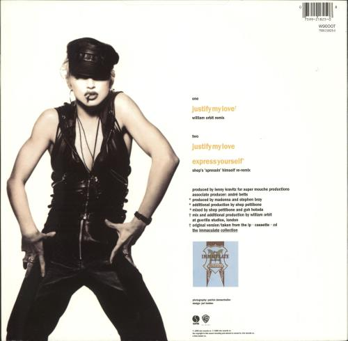"""Madonna Justify My Love - Barcoded labels 12"""" vinyl single (12 inch record / Maxi-single) UK MAD12JU721456"""