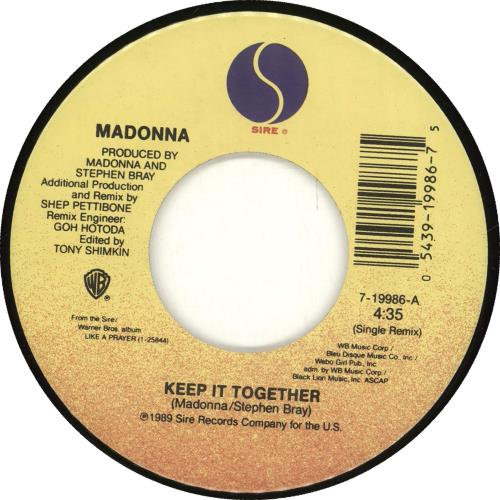 Madonna Keep It Together + Picture Sleeve US 7