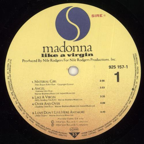 Madonna Like A Virgin - Like A Virgin stickered p/s vinyl LP album (LP record) German MADLPLI216334
