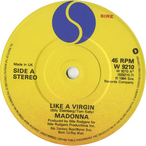 "Madonna Like A Virgin - Solid - P/S 7"" vinyl single (7 inch record) UK MAD07LI559584"