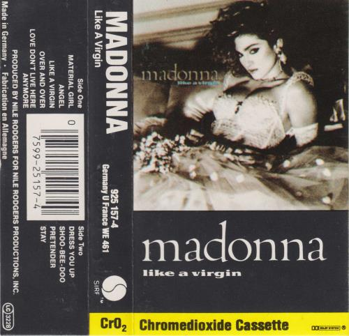 Madonna Like A Virgin - White Labels & Grey Shell cassette album German MADCLLI722089