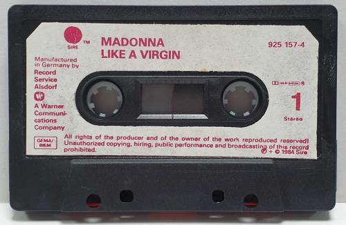 Madonna Like A Virgin - White Labels Red Text & Black Shell cassette album German MADCLLI722091
