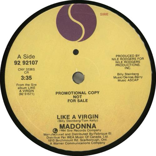 "Madonna Like A Virgin 7"" vinyl single (7 inch record) Canadian MAD07LI713537"