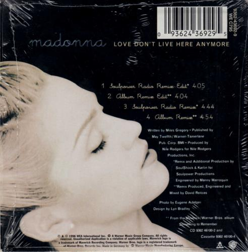 """Madonna Love Don't Live Here Anymore - Card sleeve CD single (CD5 / 5"""") German MADC5LO62548"""