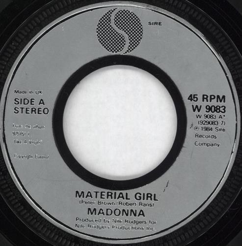 """Madonna Material Girl - Injection Moulded 7"""" vinyl single (7 inch record) UK MAD07MA559594"""