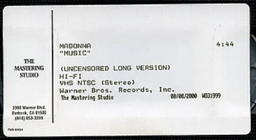 Madonna Music - Uncensored Long Version video (VHS or PAL or NTSC) US MADVIMU163907