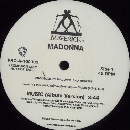 "Madonna Music 12"" vinyl single (12 inch record / Maxi-single) US MAD12MU162440"