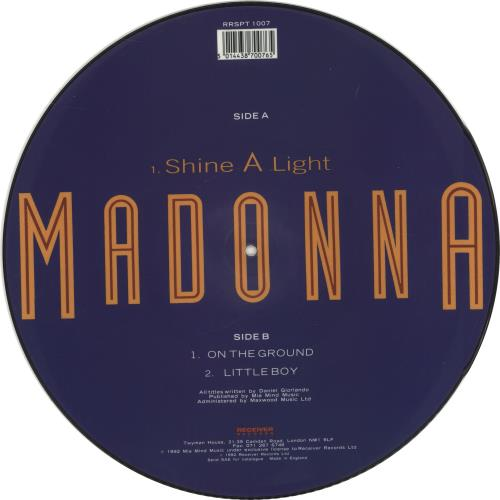 """Madonna Shine A Light 12"""" vinyl picture disc 12inch picture disc record UK MAD2PSH12033"""