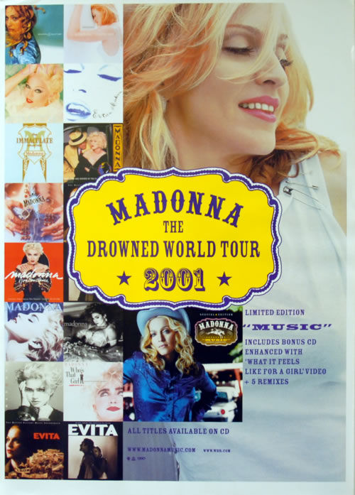 Madonna The Drowned World Tour 2001 poster UK MADPOTH616002