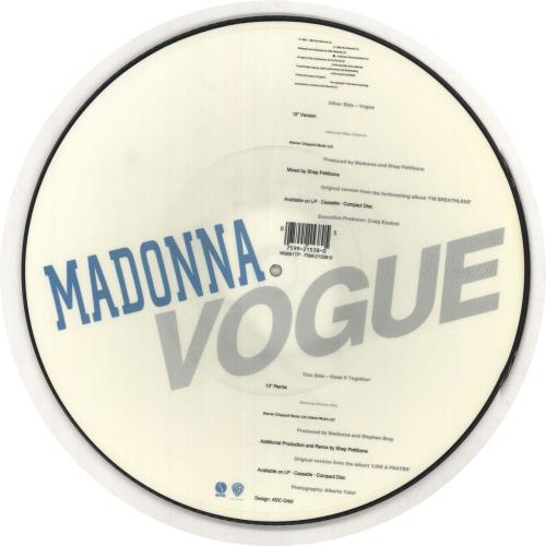 "Madonna Vogue + Bar-Coded Sticker Sleeve 12"" vinyl picture disc 12inch picture disc record UK MAD2PVO370805"
