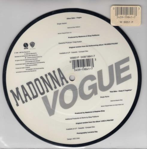 """Madonna Vogue - Barcode stickered sleeve 7"""" vinyl picture disc 7 inch picture disc single UK MAD7PVO05355"""