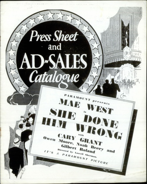 Mae West She Done Him Wrong - Press Sheet And Ad-Sales Catalogue press book UK MWTPBSH526531