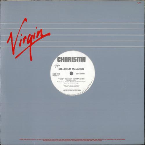 """Malcolm McLaren Fans [Nessun Dorma] 12"""" vinyl single (12 inch record / Maxi-single) Canadian MAL12FA512136"""