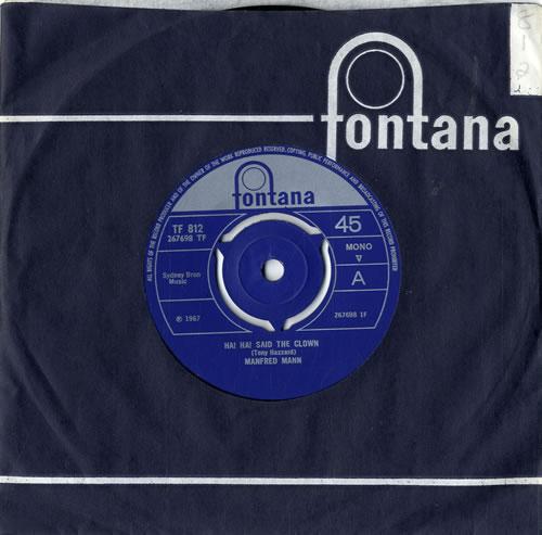 "Manfred Mann Ha! Ha! Said The Clown - 3 Prong 7"" vinyl single (7 inch record) UK MFM07HA601928"