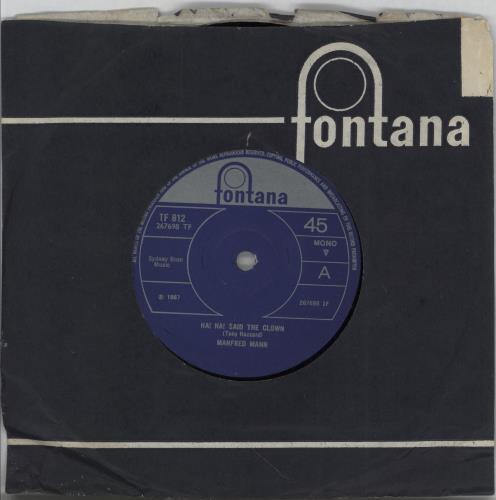 "Manfred Mann Ha! Ha! Said The Clown - solid 7"" vinyl single (7 inch record) UK MFM07HA752030"