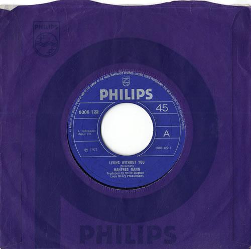 "Manfred Mann Living Without You 7"" vinyl single (7 inch record) UK MFM07LI564333"