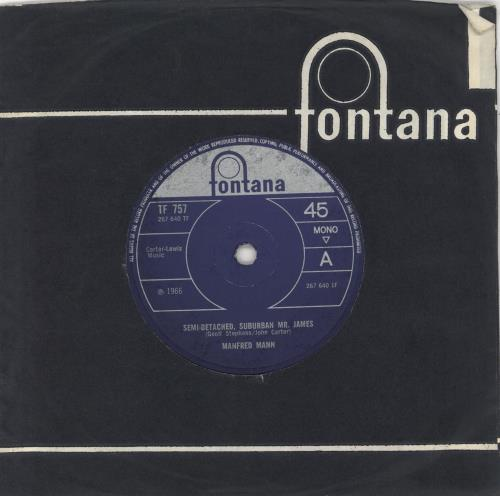 "Manfred Mann Semi-Detached, Suburban Mr. James - Solid 7"" vinyl single (7 inch record) UK MFM07SE728244"