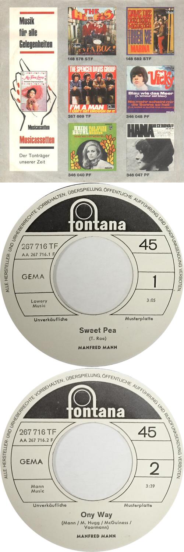 "Manfred Mann Sweet Pea - White Label Test Pressing 7"" vinyl single (7 inch record) German MFM07SW629520"